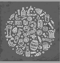Craft beer hand drawn elements set vector