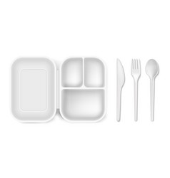 Disposable plastic of lunch vector