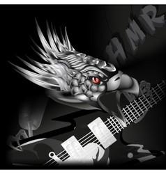 Iron eagle with a guitar in its claws vector