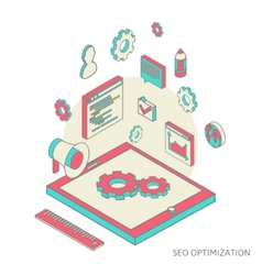 Isometric background seo optimization vector