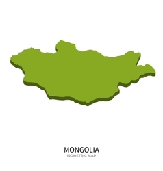 Isometric map of Mongolia detailed vector image vector image