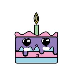 Kawaii cute tender cake dessert vector