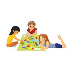 Kids playing board game vector