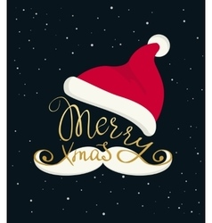 Merry Christmas golden handmade lettering vector image vector image
