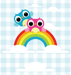 Owls express love on the rainbow background vector image