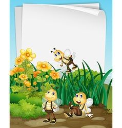 Paper design with bees in the garden vector image