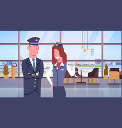 Pilot and stewardess in airport airline crew vector