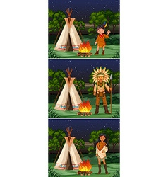 Scene with native american indians at campground vector image