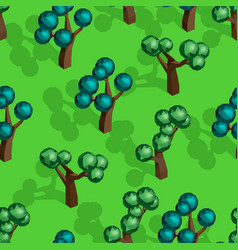 seamless pattern with isometric trees vector image