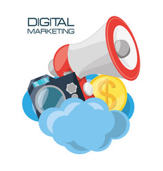 Set icons related with digital marketing vector