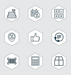 Set of 9 ecommerce icons includes cardboard vector