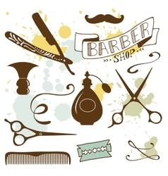 Set of vintage barber shop and hairdresser vector