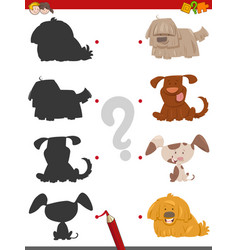 Shadow activity with cartoon dogs vector