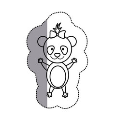 Silhouette teddy bear bow head vector