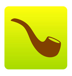 smoke pipe sign brown icon at green vector image