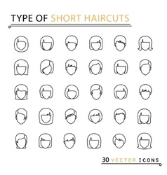 Type of short haircuts vector