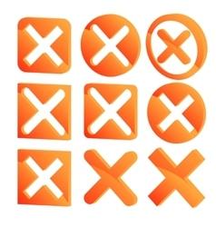 Various three dimensional x marks 3d cross marks vector