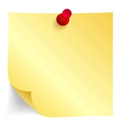 Yellow paper note with red pin vector image