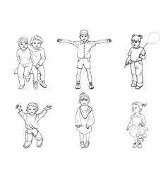 a set of children vector image