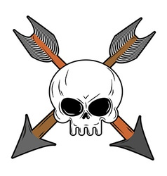 Skull and arrow from bow symbol death of head vector