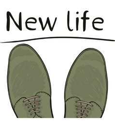 Business concept new life feet in shoes on the vector