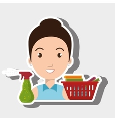 woman cartoon basket clothes spray vector image