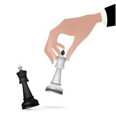 Strategist holding in hand chess figure black king vector