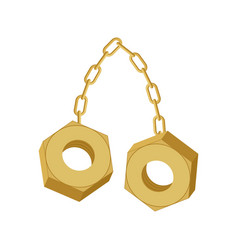 Gold nuts on chain isolated two screw-nut hang vector