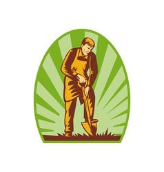 Gardener or farmer digging with shovel vector image