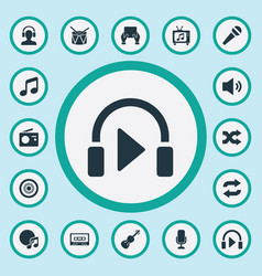 Set of simple music icons elements again melody vector