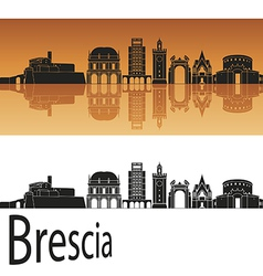 Brescia skyline in orange background vector