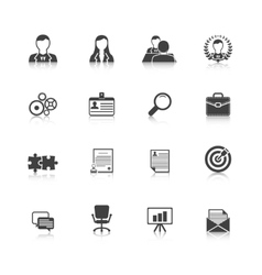 Human resources black icons set vector