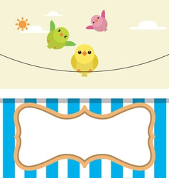 Cute flying birds with frame vector