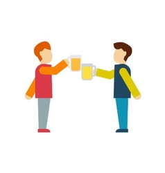 Two male employee enjoy drinking beer vector