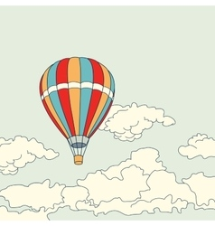 Air balloon flying in the clouds vector
