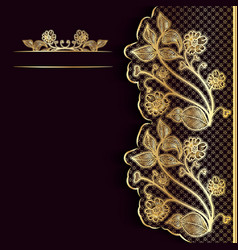 Ornate vintage dark background with golden lace vector