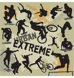 set extreme urban sports silhouettes vector image