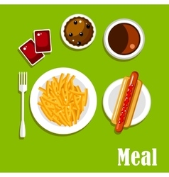 Fast food lunch meal menu design vector