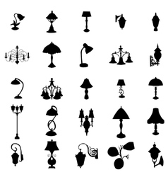 Lamps silhouettes set vector