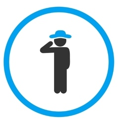 Guy salute circled icon vector