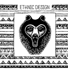 Pattern with bear face black and white colors vector