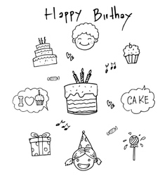 Birthday doodle art element vector