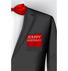 Birthday card with tuxedo costume vector image