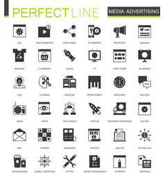 Black classic media advertising icons set for web vector