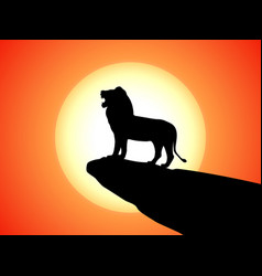 black silhouette snarling lion on a rock vector image vector image