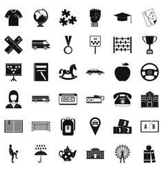 Bus driver icons set simple style vector