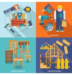 Carpentry flat set vector image
