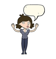 Cartoon woman surrendering with speech bubble vector