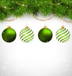 Christmas balls on pine branches with chains on vector