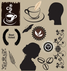 coffee elements vector image vector image